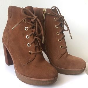 Michael Kors Brown Combat High Heeled Boots